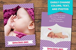 Purple Birth Announcement Template