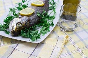 Fresh fish on plate