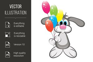 Cartoon rabbit with colorful balloon