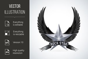 Silver star with Rock Star banner an