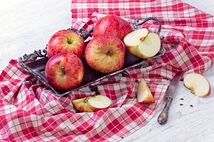 Vintage tray with apples