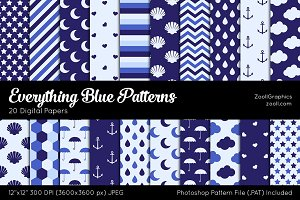 Everything Blue Digital Papers