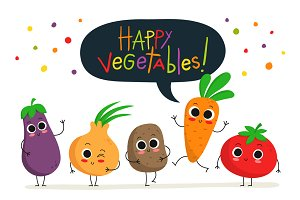 Cute happy vegetables! :)