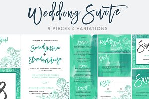 Teal Watercolor Wedding Invitation