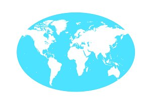 world map vector with planet