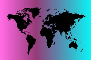 world map neon light