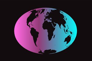 World map planet vector neon