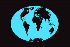 World map planet neon blue color
