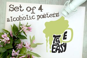 Set of alcoholic posters