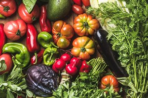 Raw ingredients for healthy cooking