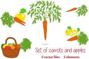 Set of carrots and apples