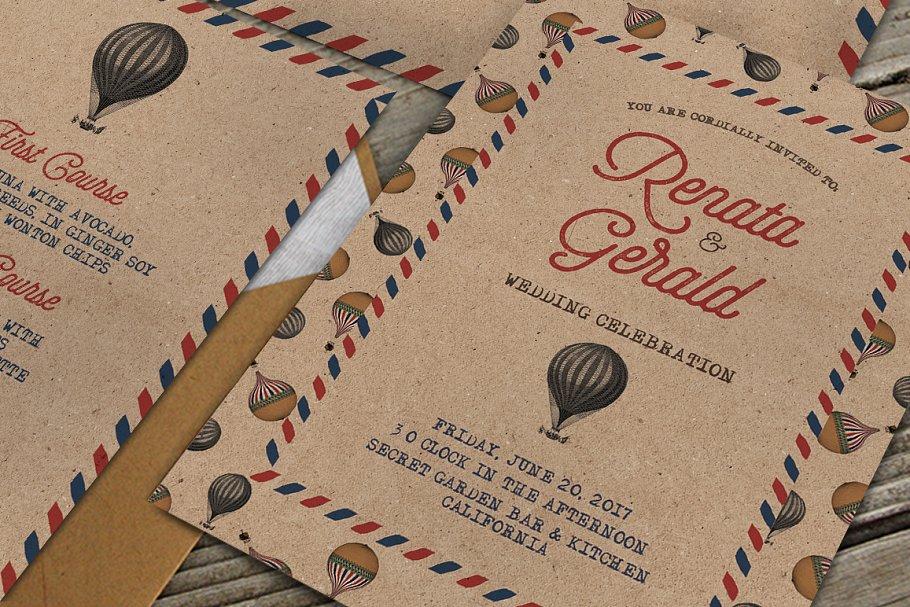 Vintage Travel Wedding Suite Invitation Templates Creative - Travel wedding invitations template