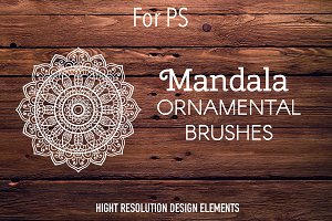 Set of 10 brushes with mandala