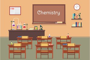 Illustration of chemistry classroom