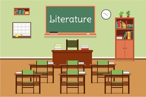 Illustration of literature classroom