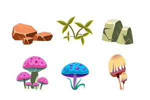 Cartoon Stones, Mushrooms and Bushes