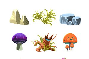 Cartoon Mushrooms, Stones, and Bushe