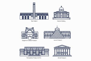 Monuments thin line vector icons