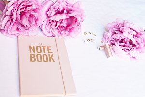 Gold note book with peonies