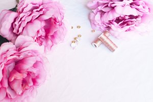 Pink peonies desk gold accessories