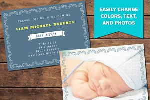 Elegant Birth Announcement Template