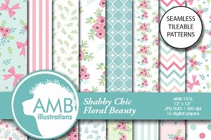 Floral Digital Papers, 1376