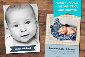 Diamond Birth Announcement Template