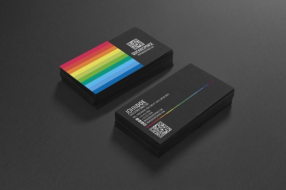 Rainbow qr code business card business card templates creative rainbow qr code business card business cards cheaphphosting Images