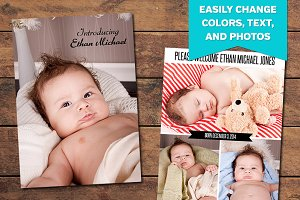 Vertical Birth Announcement Template