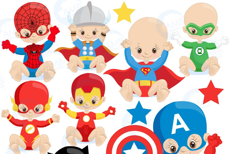 Superhero baby. Super hero babies clipart