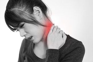 woman have a neck pain