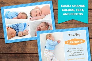 Collage Birth Announcement Template