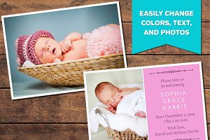 Clean Birth Announcement Template