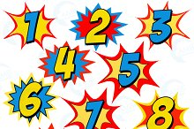 Starburst Numbers Clipart, 1340