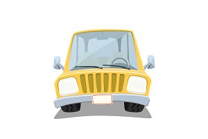 Yellow cartoon car isolated on white
