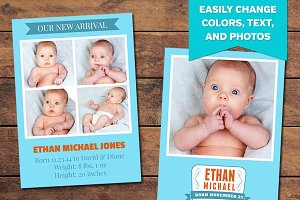 Blue Birth Announcement Template
