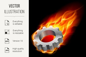 Gearwheel in fire