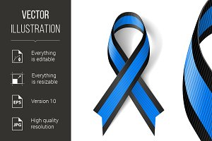 Blue and black ribbon
