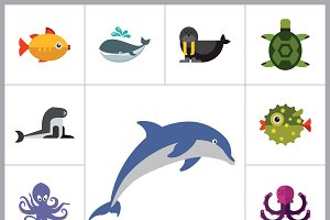 Sea Creatures Flat Icon Set