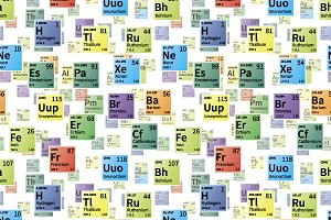 Chemical elements on white pattern