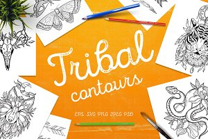 Tribal contours - vector set