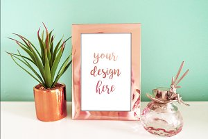 Mint & Rose Gold Photo Frame Mockup