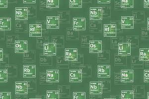 White chemical elements on green