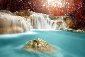 Beautiful deep forest waterfall