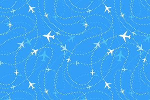Airline routes with planes icons
