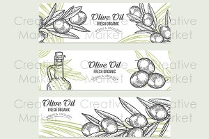 3 Olive banners, hand drawn