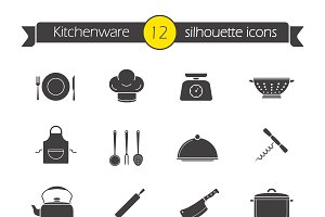 Kitchen tools icons. Vector