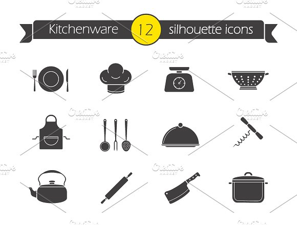 Kitchen tools icons. Vector - Icons