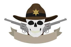 Wild west sheriff emblem. Vector