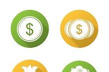 Money icons. Vector